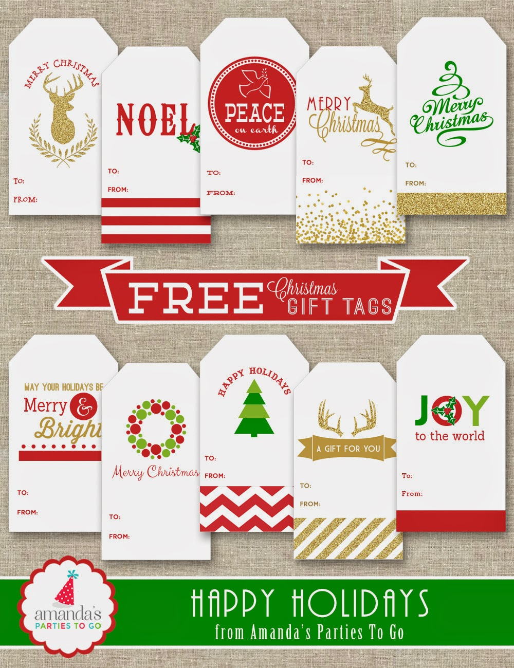 Amandas parties to go free christmas gift tag printables monday december 8 negle Gallery