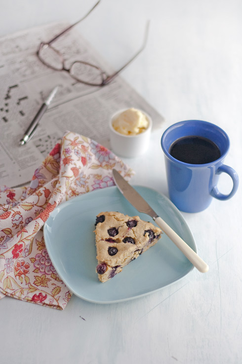 Gluten free blueberry scone with coffee
