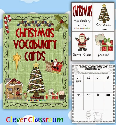 Christmas Vocabulary Cards with Record Sheet PDF file  59 Christmas Vocabulary/Flash Cards.