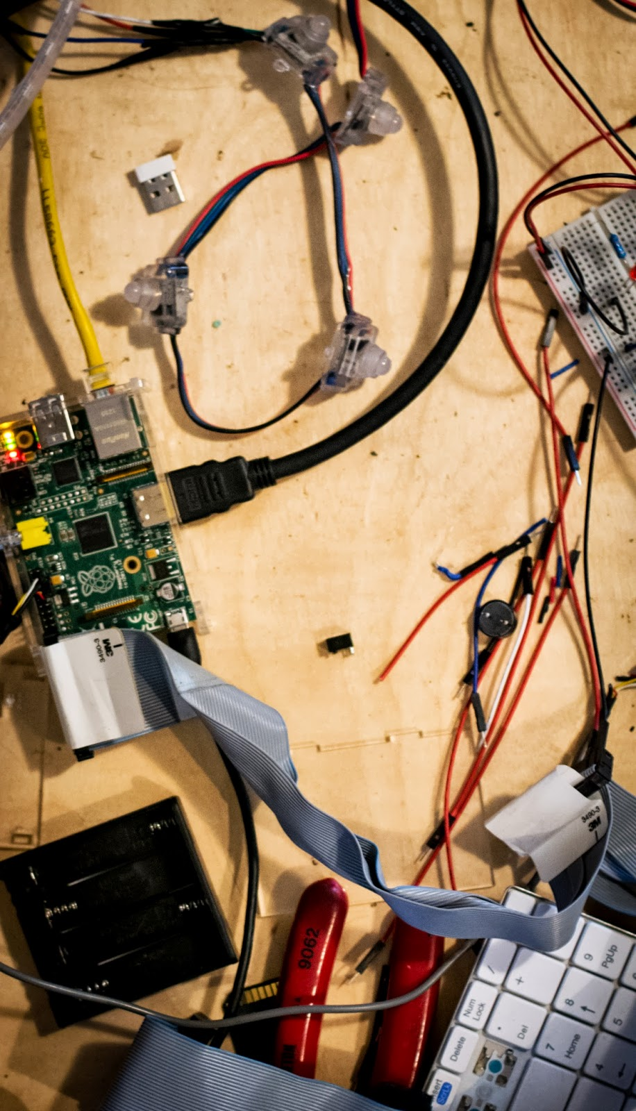 raspberry pi ws2801 breadboard configuration taken in the midst of