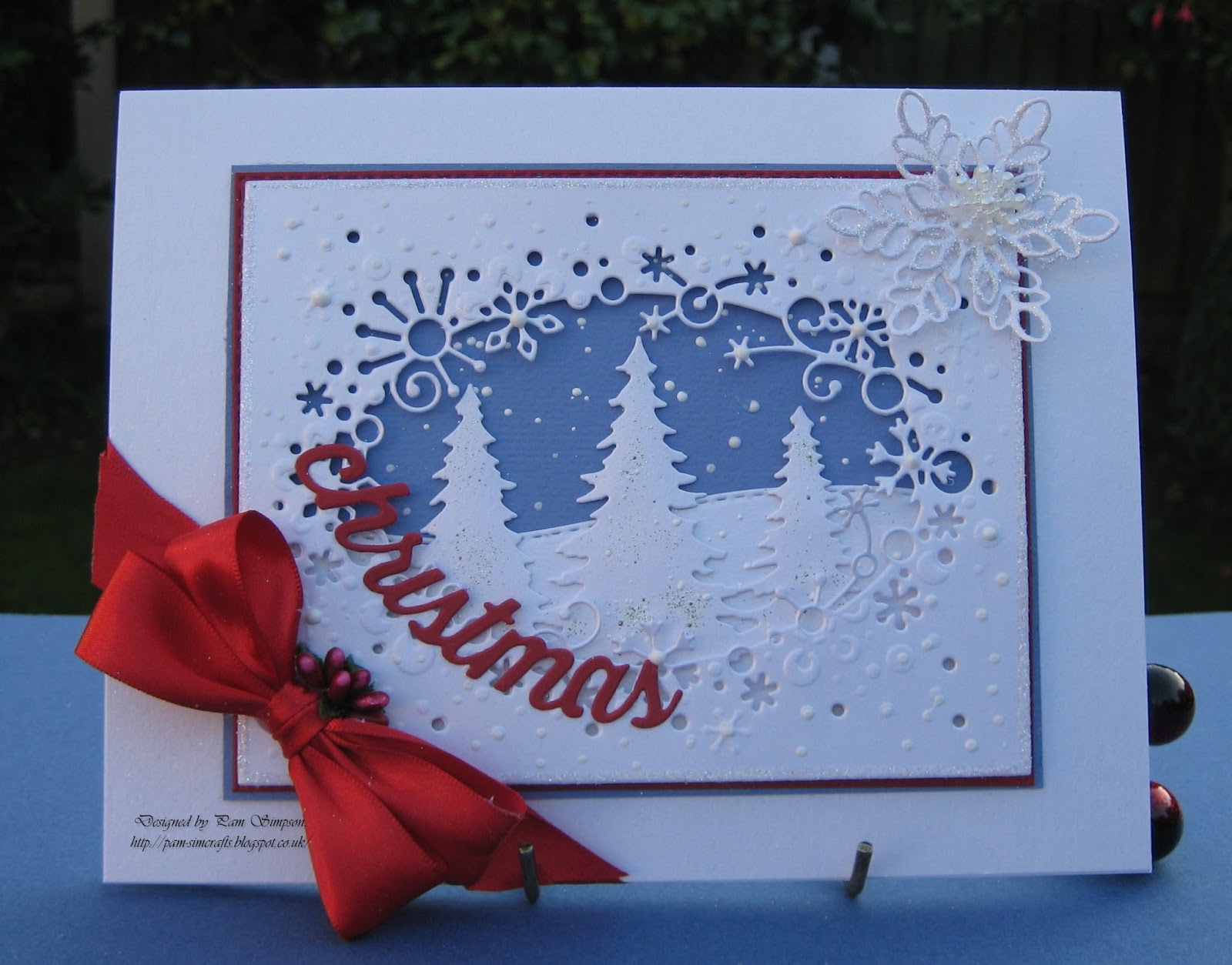 pamscrafts: Christmas Card With Snowflakes..