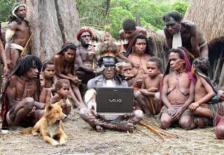 smešna slika: Laptop za primitivno pleme