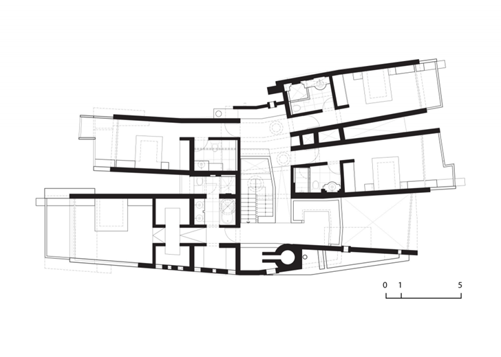 Second floor plan of Extreme modern house by Longhi Architects
