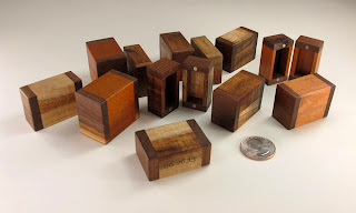 Batch of Tiny Jewelry Gift Boxes using a variety of reclaimed woods