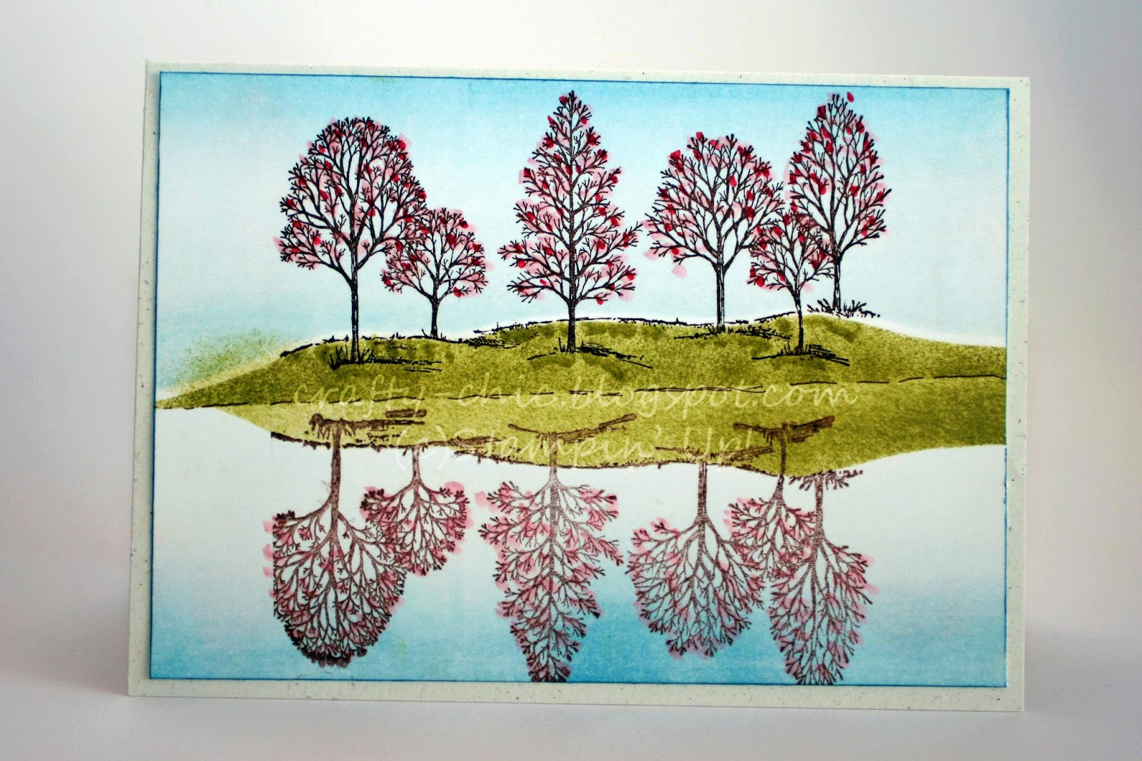 Stampin' Up! lovely as a tree with a reflection in the water