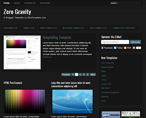 Zero Gravity Blogger Theme