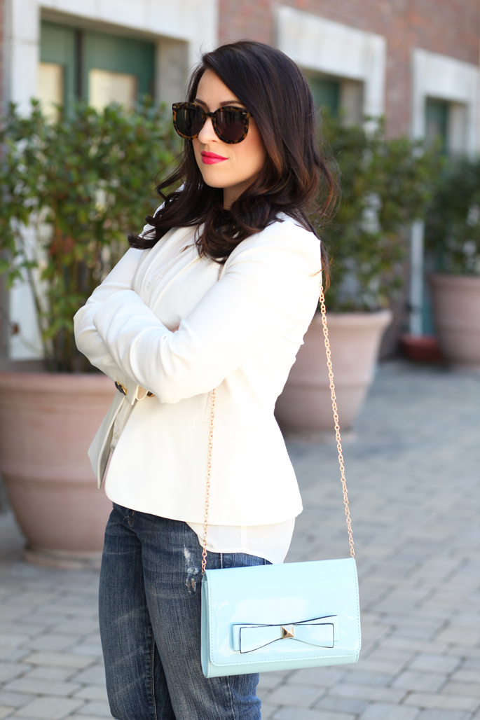 spring-outfit-ideas-white-blazer-blue-crossbody-chain-bow-bag-cutoff-denim-karen-walker-sunglasses-jcrew-white-button-up-zara-white-blazer-king-and-kind-blog
