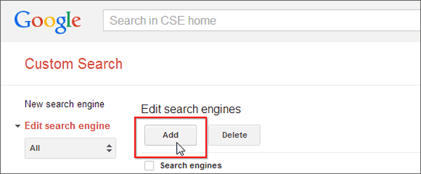 Add Google Search Engine