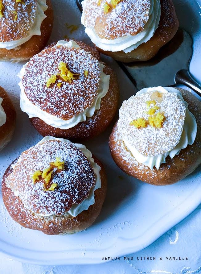 Semlor med citron & vanilje - Svenske fastelavnsboller - Mit livs kogebog
