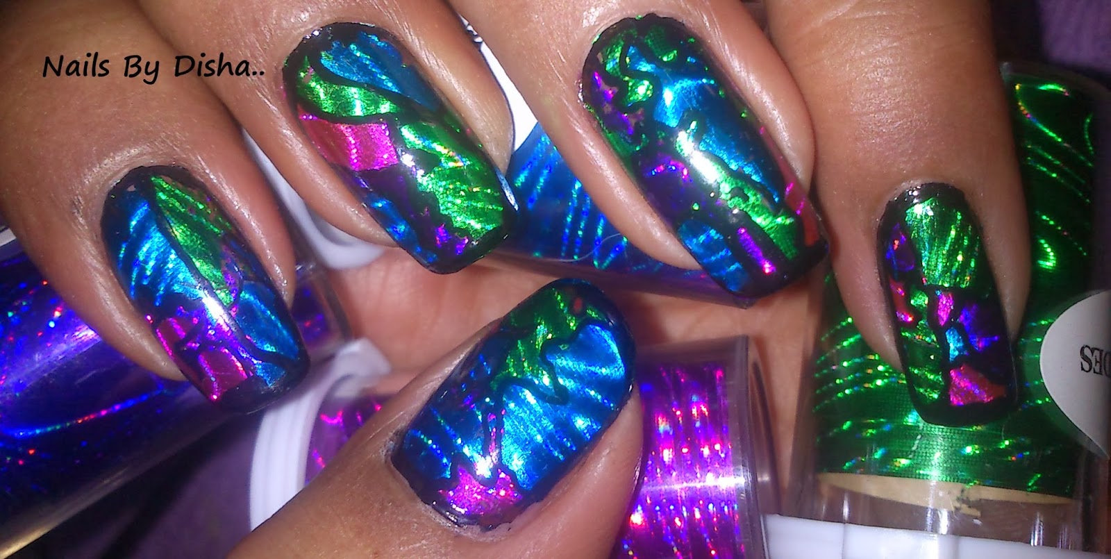 Nail The Art : Easy funn and colorful foil nail art design!!