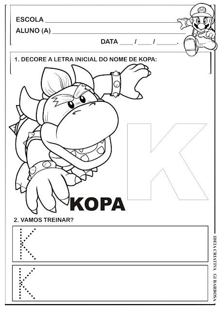 Atividade Letra  K Super Mário Bross
