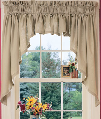 Kitchen curtain styles on pinterest window treatments for Designs of kitchen curtains