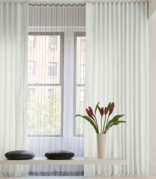 Office interior design beautifull sheer curtain for Interior design curtains