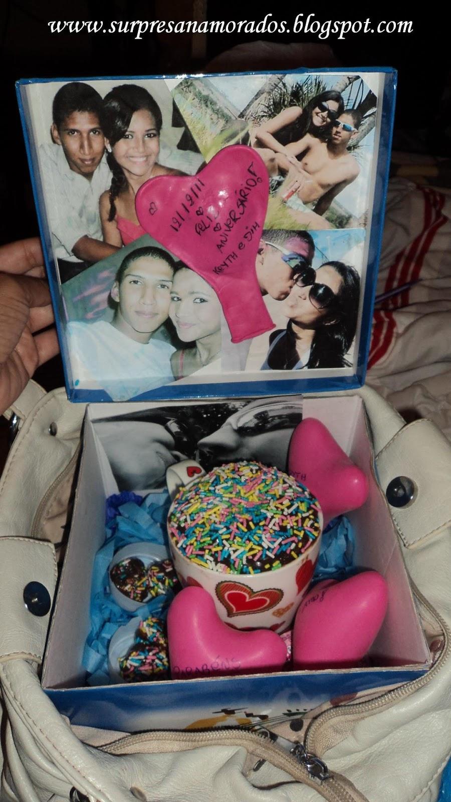 de fazer a festa na caixa no aniversário do namorado dela, que foi