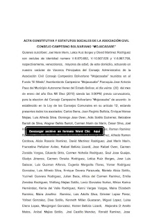 Acta Constitutiva y Estatutos Sociales Del Consejo Campesino Jose Leonardo Chirino
