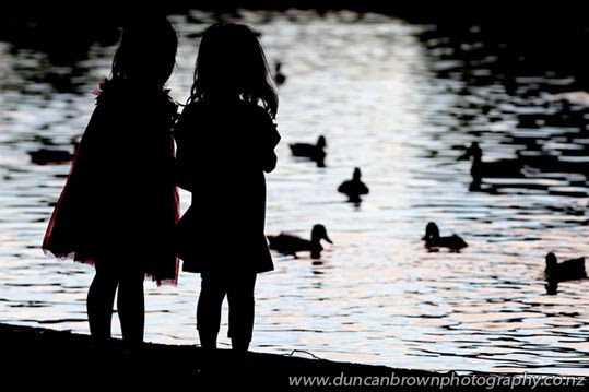 Feeding the ducks at Cornwall Park, Hastings photograph