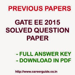 Download GATE 2015 EE Electrical Engineering Question Paper with Solution and Answer Key