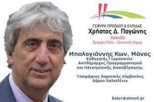 Μάνος Μπαλογιάννης υποψήφιος δημοτικός σύμβουλος Δήμου Χαλκιδέων