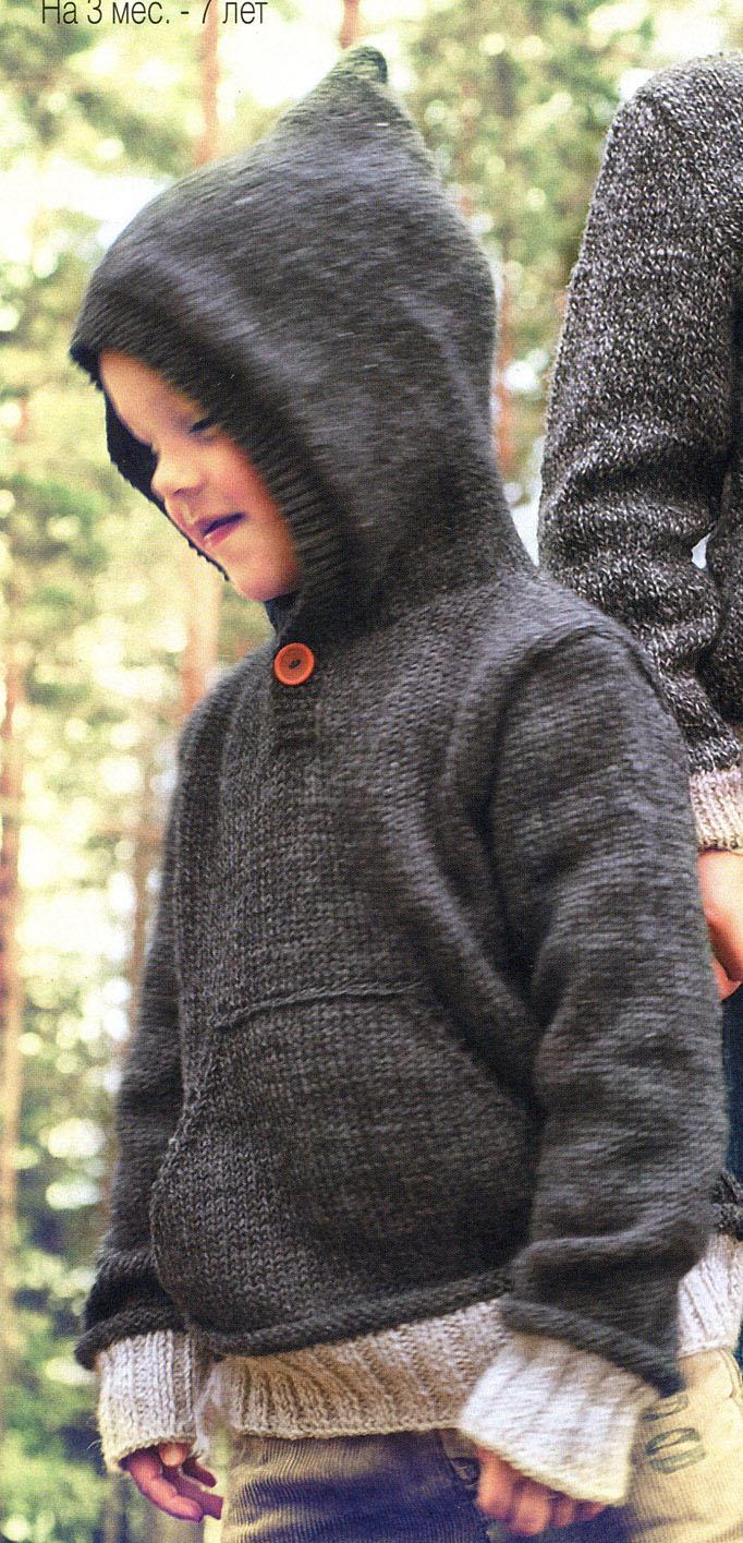 детский пуловер с капюшоном спицами для девочки