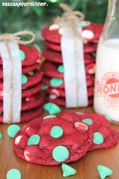 Red Velvet Cookies with Green Mint Chips
