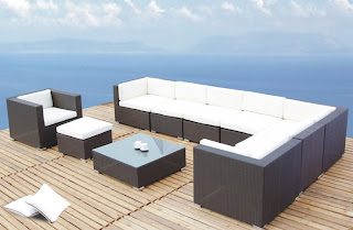 Modern Tosh Furniture Outdoor Patio Brown Sofa Set