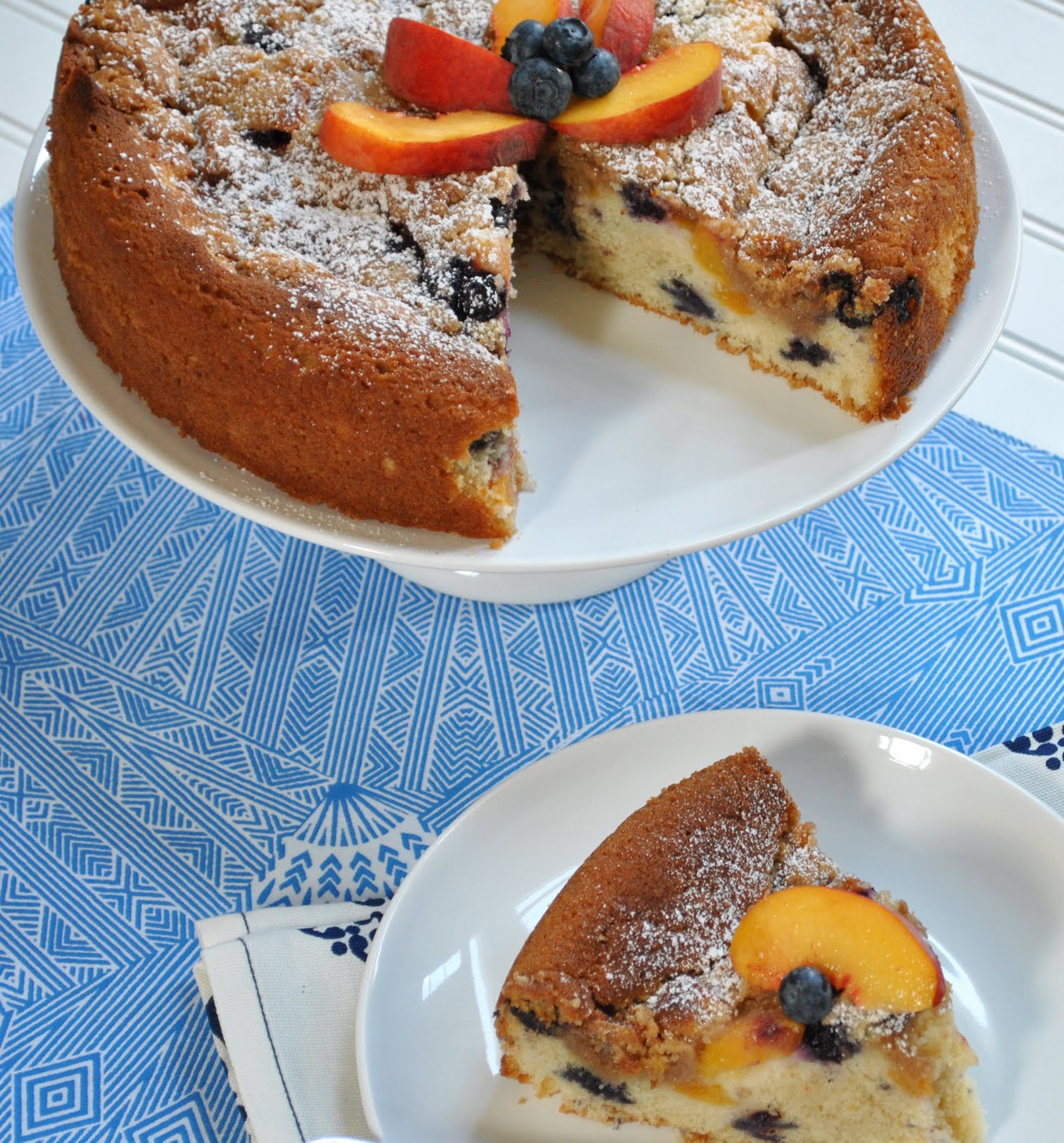 Ryan Bakes: Peach Week: Peach Blueberry Coffee Cake