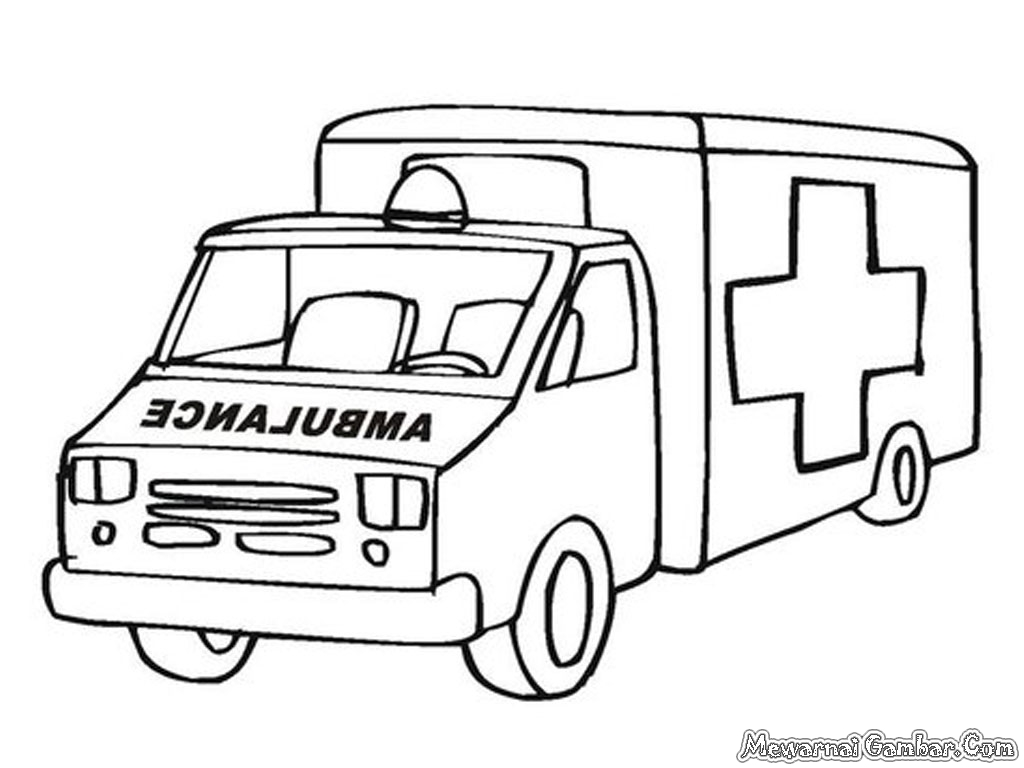 Mewarnai gambar telah menyediakan 10 buah gambar mobil ambulance untuk