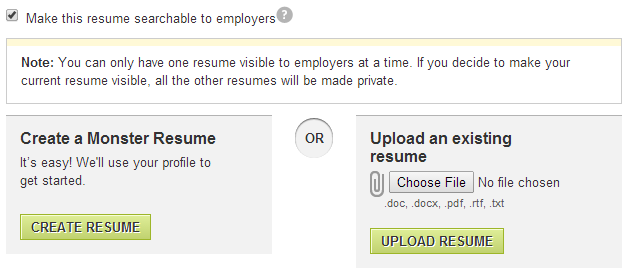 Getting Abroad for Work CV settings in Monstercom Location and