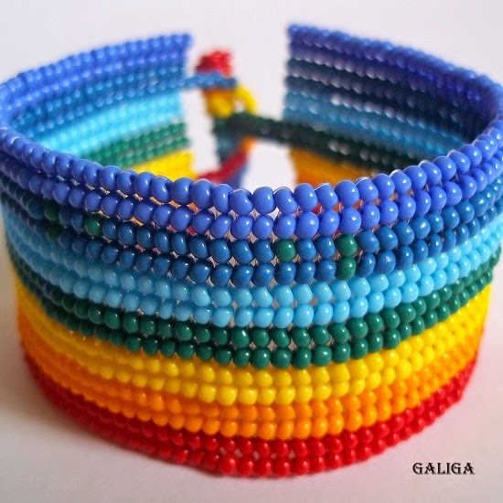 rainbow style beaded bracelet-colorful seed bead bracelet-summer pattern cuff