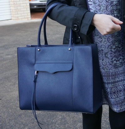 Rebecca Minkoff medium MAB tote in moon navy worn with printed shift dress