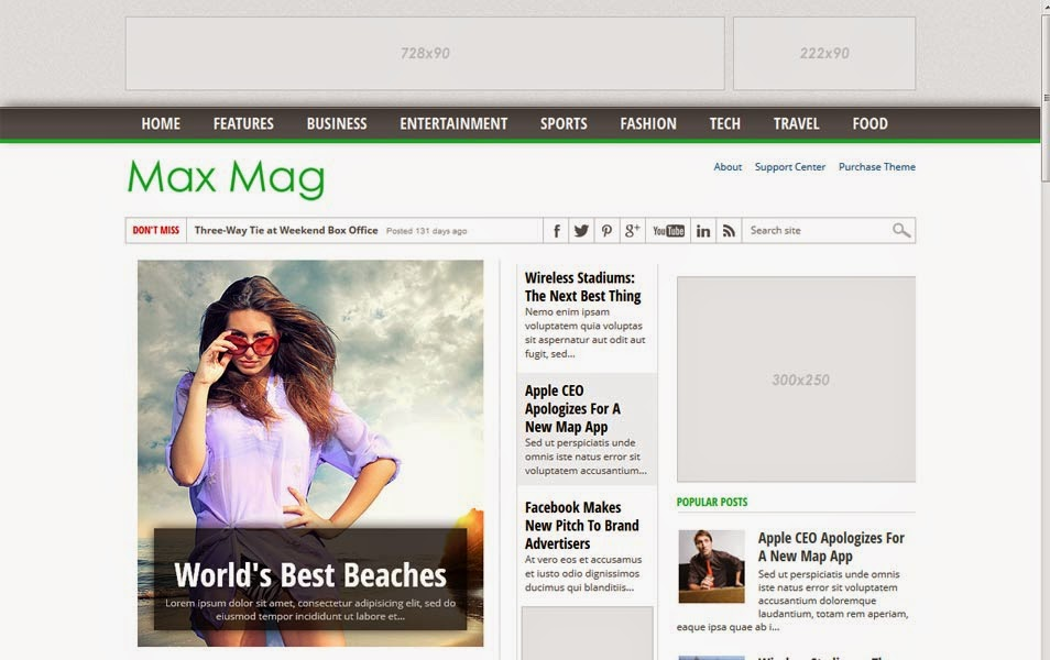 MaxMag Responsive Magazine Blogger Template
