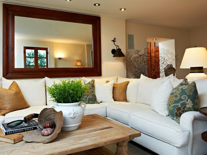 Wood Classy Table in Neutral Living Room