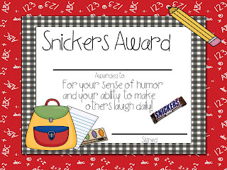 Free Printable Candy Bar Awards for Students