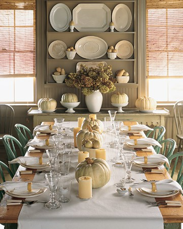 A harvest themed table with casual china and flatware and occasional stemware Pinterest & Three Good Grapes: Thanksgiving Entertaining: Setting the Table