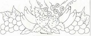 desenho bananas com uvas e morangos para pintar