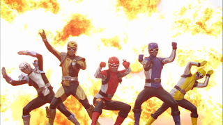 Go-Busters Returns Dōbutsu Sentai Go-Buster Red Cheetah Blue Gorilla Yellow Rabbit Gold Beetle Silver Stag