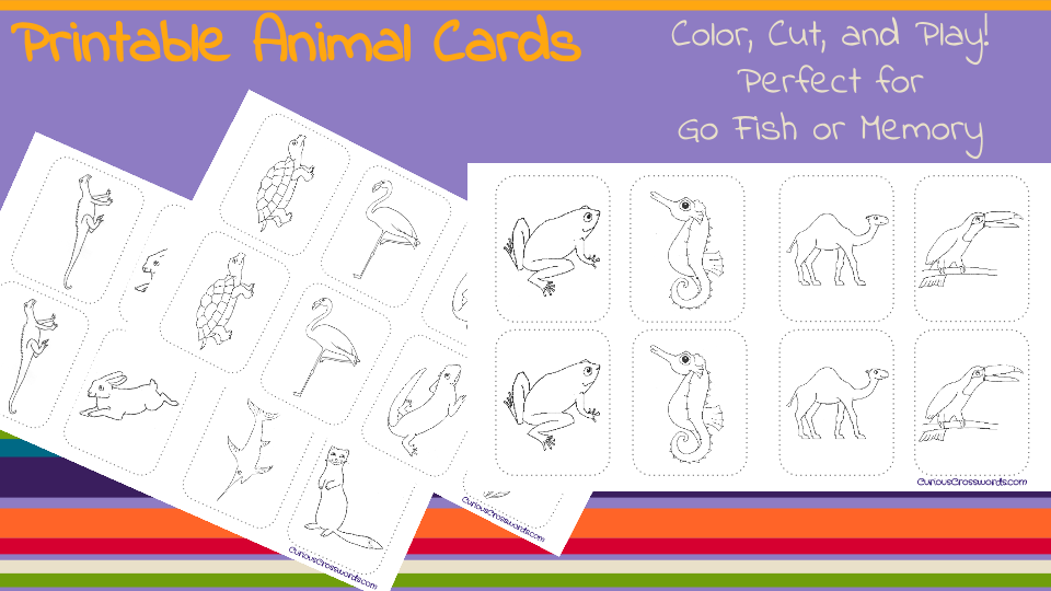 picture about Animal Cards Printable known as Curious Crosswords: Printable Animal Card Sport!
