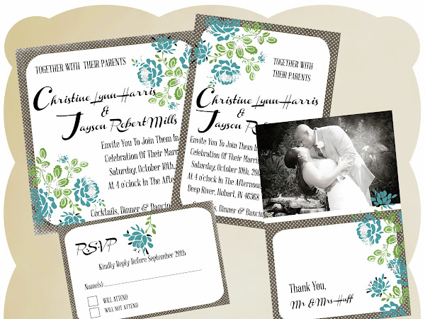 "FREE ""Blue Floral"" Digital Bridal Wedding Suite Download"