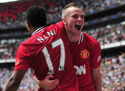 Nani and Cleverley Manchester United v Manchester City Community Shield
