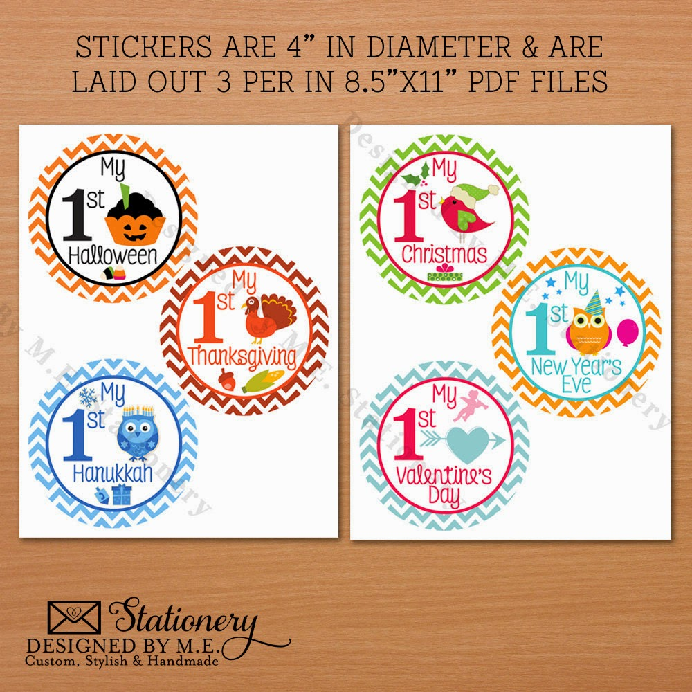 Baby's First Holiday Milestone DIY Stickers - they make great baby shower gifts!