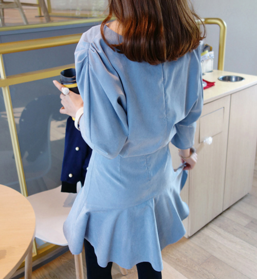 Structured Sleeves Dress with Ruffled Hem