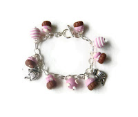 Pink Cupcake Charm Bracelet made from polymer clay by Lottie Of London