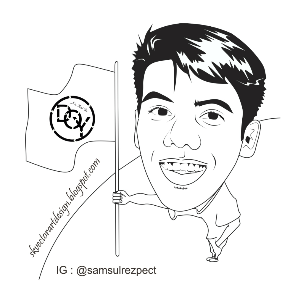Line Art Wajah : Ide remaja jasa disain vector kartun wpap typografi