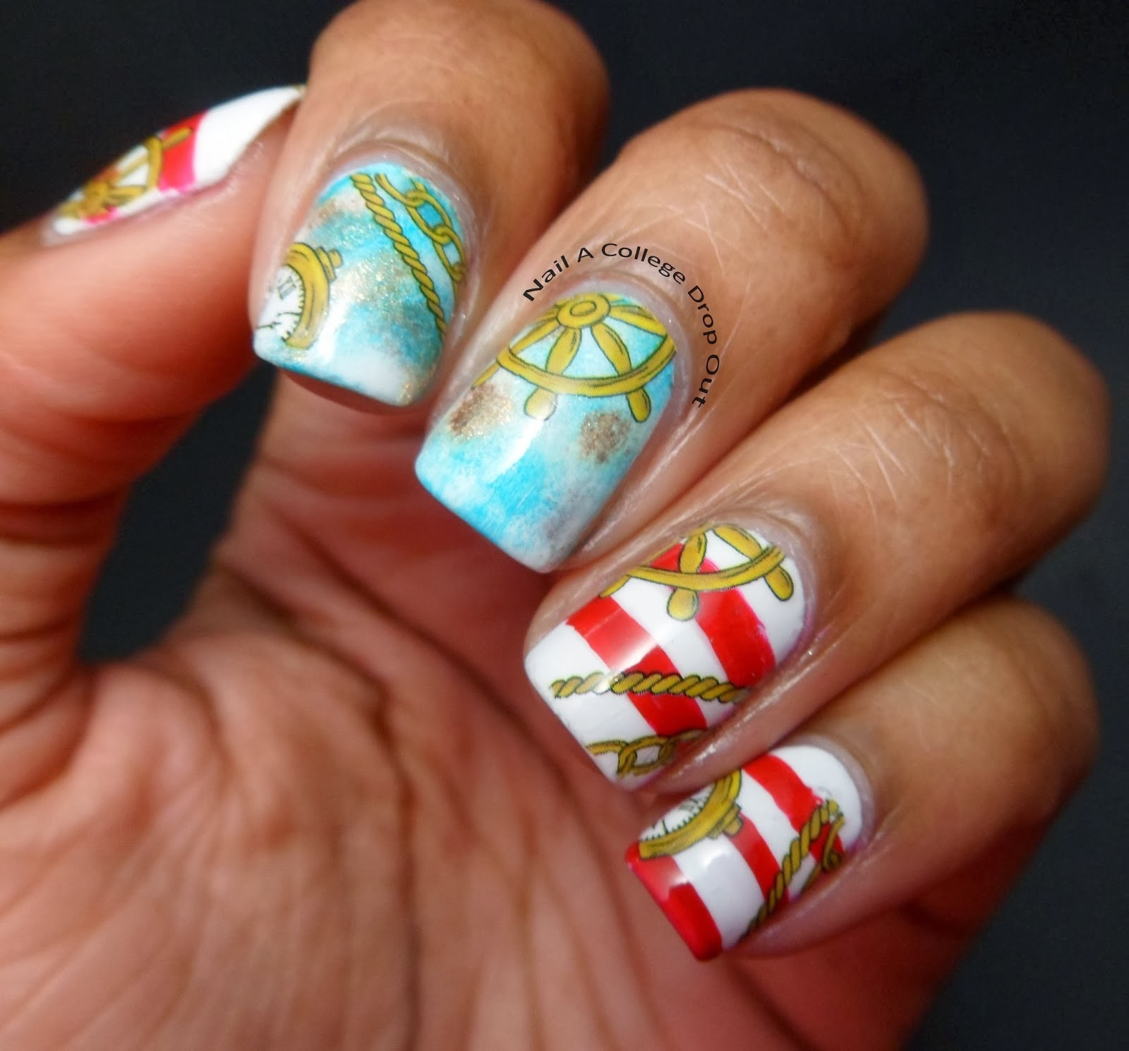 Фото острых ногтей морской дизайн