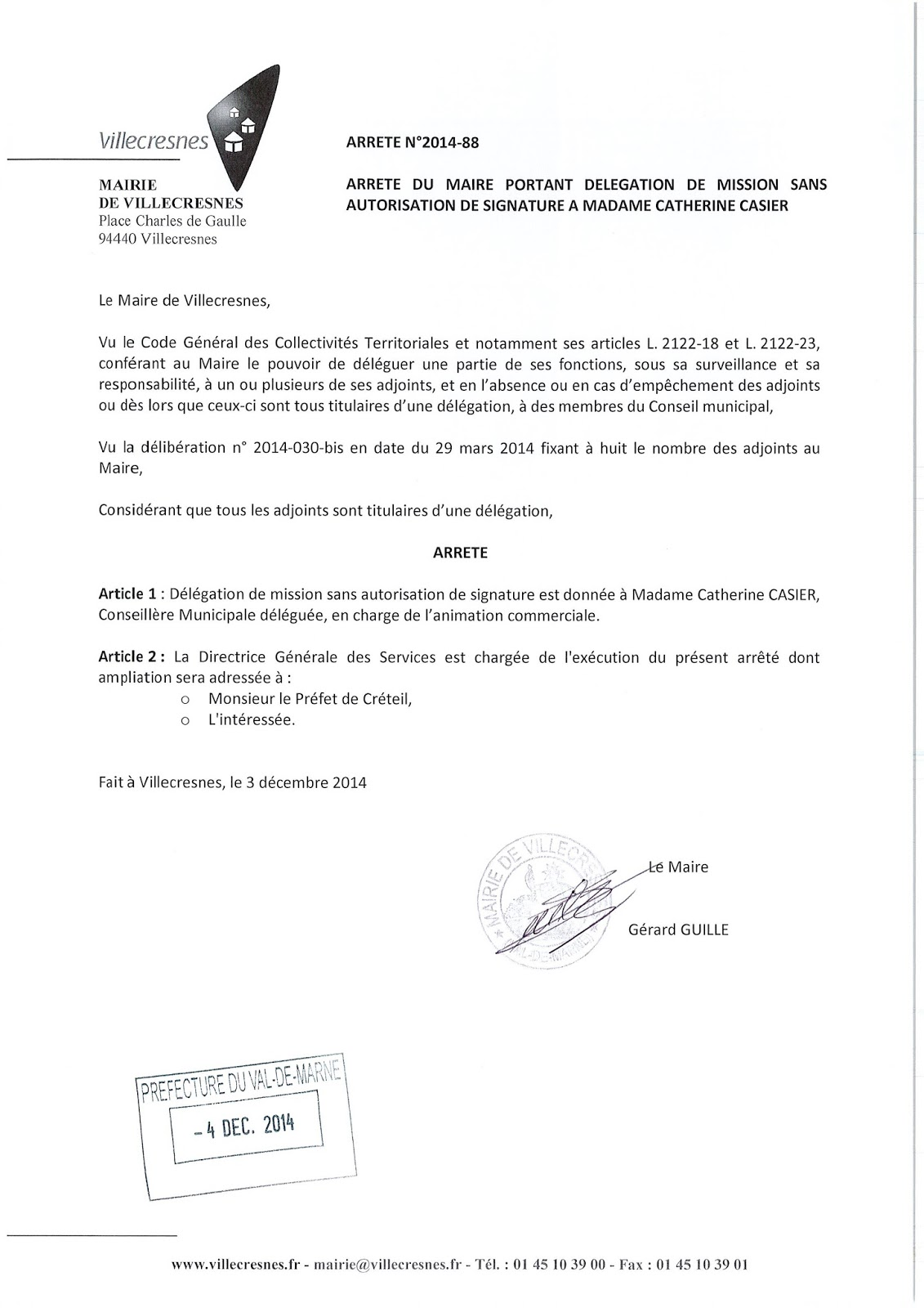 2014-088 Délégation de fonction mission sans autorisation de signature à Madame Catherine Casier