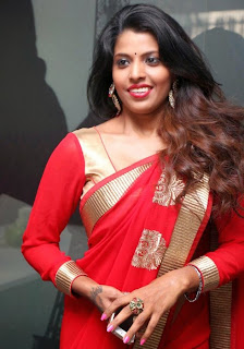 Manisha Pillai Spicy Tamil actress in Red Saree and Choli Stunning Homely girl
