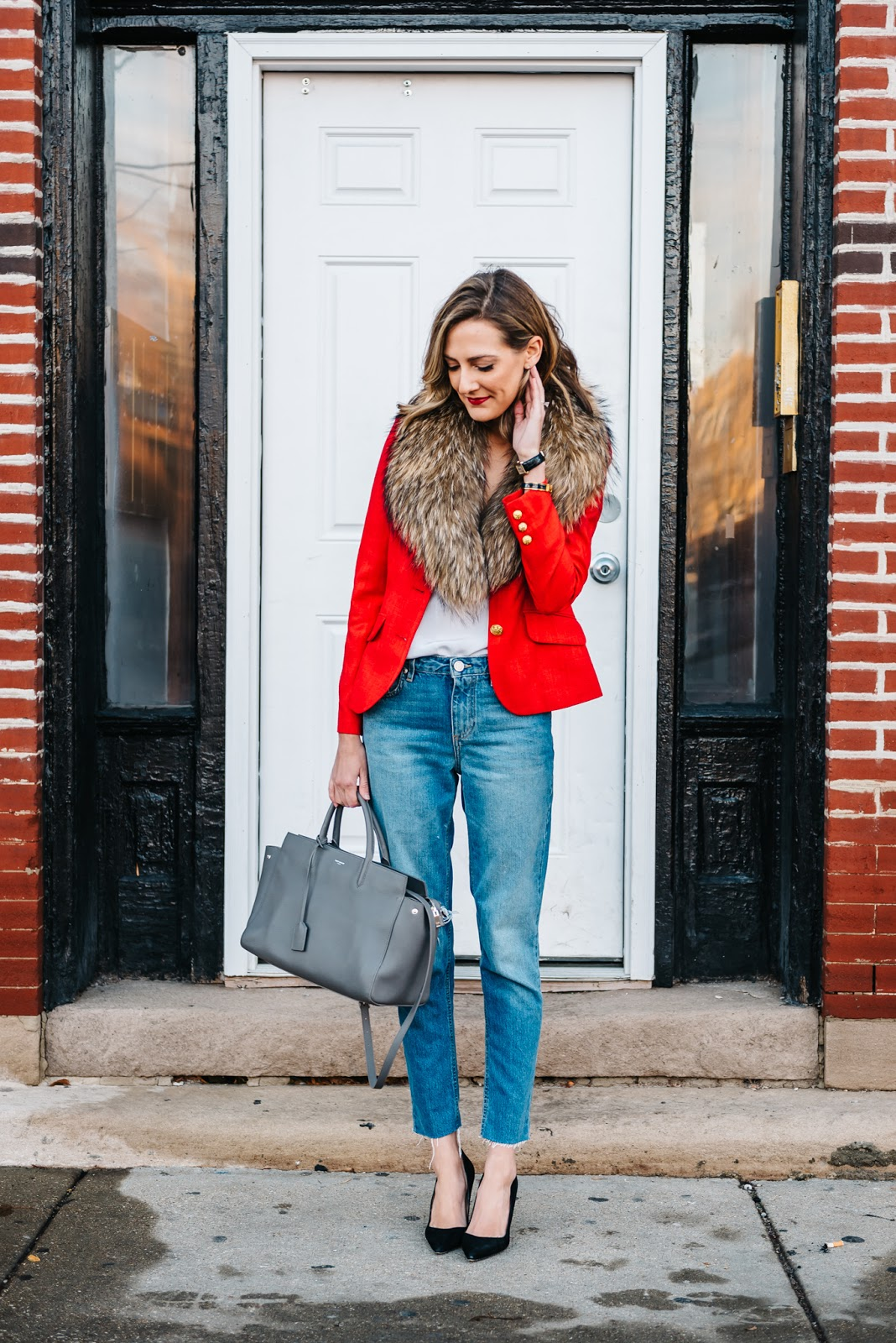 blazer with fur outfit