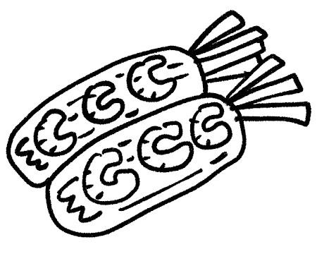 生春巻きのイラスト モノクロ線画