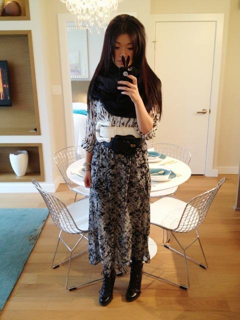 fendi buckle belts black and white, forever 21 maxi skirt, forever21 shirt, outfit, style, fashion, marc jacobs scarf