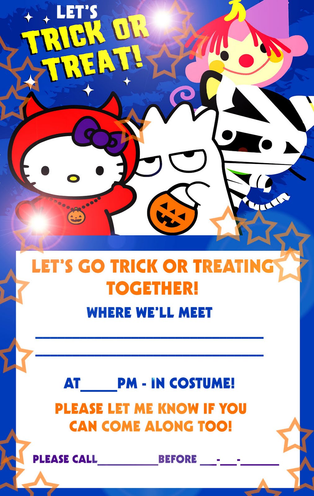 hello kitty loft  printable halloween invitation cards